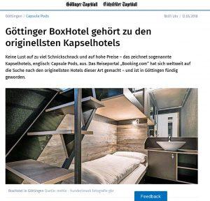 20180512_GoettingerTagesblatt_BoxHotel gehoert zu originellsten Kapselhotels
