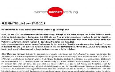 2019/05/20 Werner-Bonhoff-Stiftung Pressemitteilung – Die Nominierten für den 13. Werner-Bonhoff-Preis-wider-den-§§-Dschungel 2019