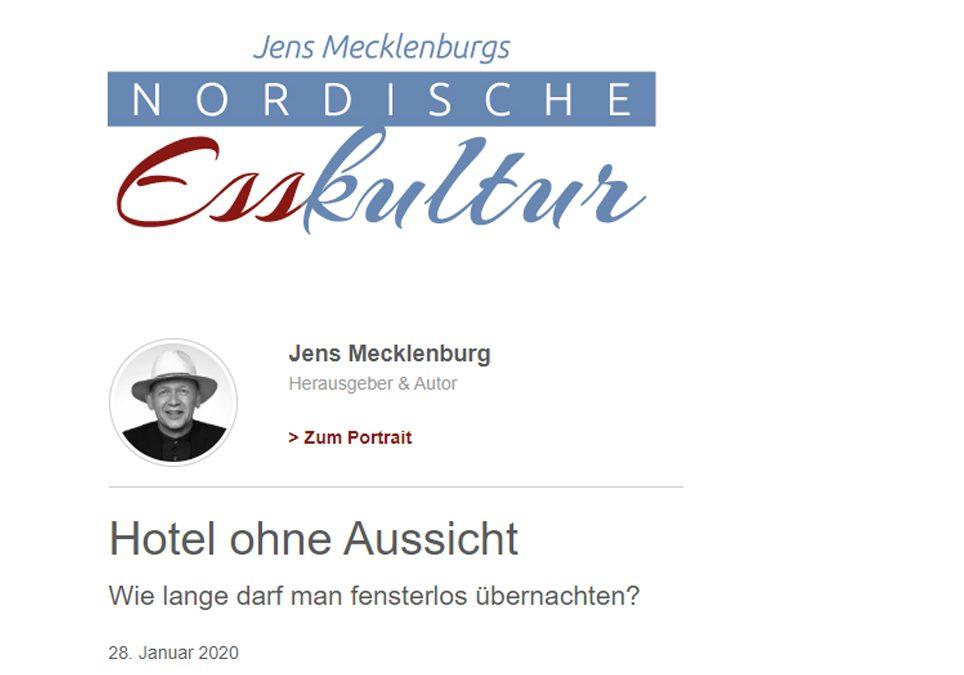 2020/01/28 Nordische Esskultur – Hotel ohne Aussicht – Wie lange darf man fensterlos übernachten?