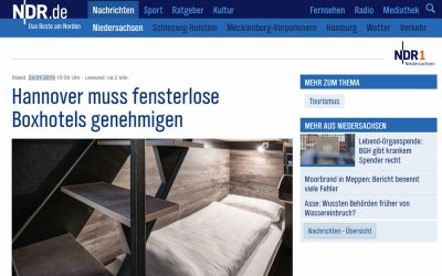 2019/01/24 NDR.de – Hannover muss fensterlose BoxHotels genehmigen
