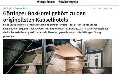 2018/05/12 Göttinger Tagesblatt – Göttinger BoxHotel gehört zu den originellsten Kapselhotels