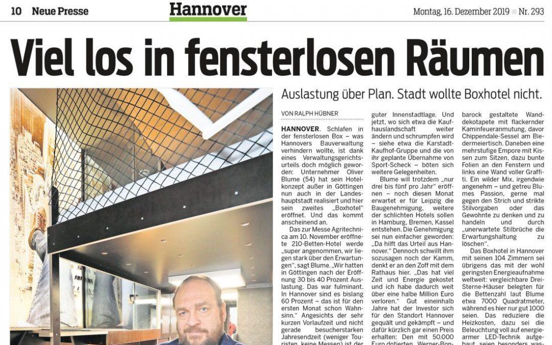 2019/12/16 Neue Presse – BoxHotel eröffnet – So läufts