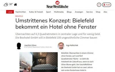 2019/07/27 Neue Westfälische – Umstritten: In Bielefeld soll es bald ein neues Hotel ohne Fenster geben