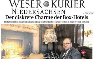 2020/01/25 Weser Kurier – BoxHotel sorgt in Hannover für Kontroversen