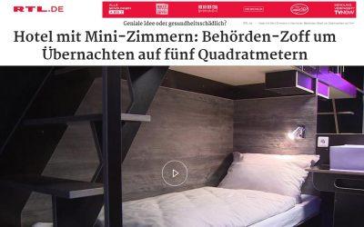 2020/01/27 RTL.de – Hotel mit Mini-Zimmern: Behörden-Zoff um Übernachten auf fünf Quadratmetern